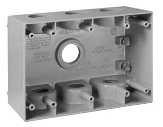 Crouse-Hinds Series TP7143 2-5/8 Inch Gray Die-Cast Aluminum 3-Gang Weatherproof Outlet Box
