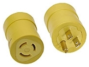 Woodhead 1708 125 Volt 15 Amp NEMA Male End 5-15 Plug to Female End Receptacle Connect Adapter
