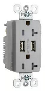 Pass & Seymour TR-5362USBI 20 Amp 125 VAC NEMA 5-20R Ivory Decorator Duplex USB Charger Receptacle