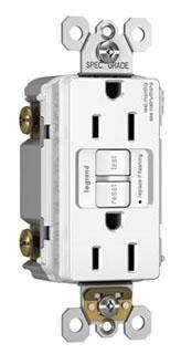 Pass & Seymour 1597-TRW Trademaster/Spec Grade Tamper Resistant 15 Amp White Self Test Duplex GFCI