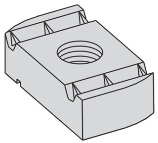 B-Line Series N225WOZN 1/2 Inch 13 Thread Nut without Spring