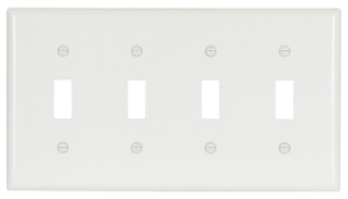 Eaton Wiring Devices 2154W 4-Gang White Thermoset Standard Size Toggle Switch Wallplate