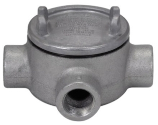Crouse-Hinds Series GUAT36 1 Inch Hub 3 Inch Cover Opening Cast Iron Conduit Outlet Box with Cover