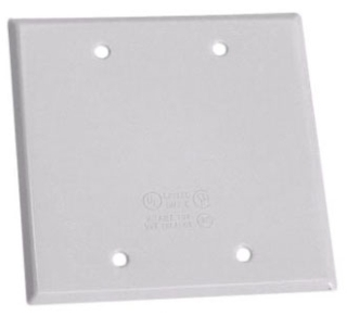 Crouse-Hinds Series TP7296 Steel Gray 2-Gang Blank Box Weatherproof Outlet Cover with Gasket
