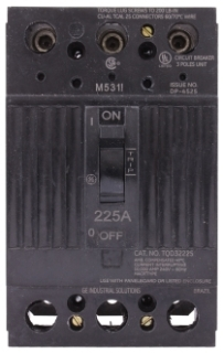 GE Industrial Solutions TQD32225X2 240 Volt 225 Amp 10 kaic 3-Pole Circuit Breaker with Line Lug