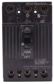 GE Industrial Solutions THQD32150WL 240 Volt 150 Amp 22 kaic 3-Pole Circuit Breaker with Lugs