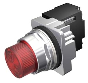 Siemens Industry 52PL5M2 30 mm 120 VAC Red Chrome Glass Lens LED Pilot Light