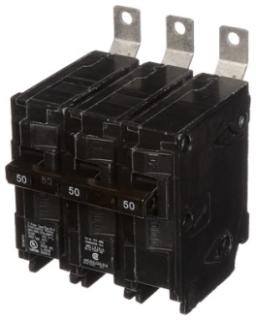 Siemens Industry B35000S01 3-Pole 50 Amp 240 VAC 10 kA 120 Volt Shunt Trip Bolt-On Molded Case Circuit Breaker