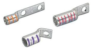 Color-Keyed 54108NT 1 AWG Tiined Copper Standard Barrel Narrow Tongue 1-Hole Compression Lug