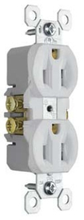 Pass & Seymour 3232-W 15 Amp 125 VAC 2-Pole 3-Wire NEMA 5-15R White Thermoplastic Duplex Receptacle