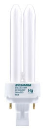 Sylvania 20672 18 W 82 CRI 3500 K 1250 lm G24D-2 Base 4-Pin Base Dimming Double Compact Fluorescent Lamp