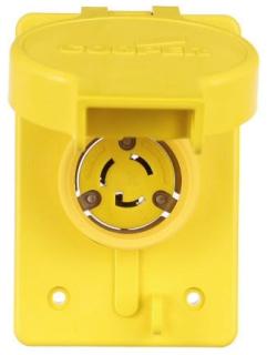 Arrow Hart Wiring 65W34 15 Amp 277 VAC 2-Pole 3-Wire NEMA L7-15 Yellow Watertight Locking Single Receptacle