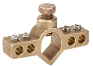 Bridgeport IGBC-063 5/8 Inch Plain Brass with Stainless Steel Ground Rod Bridge Clamp