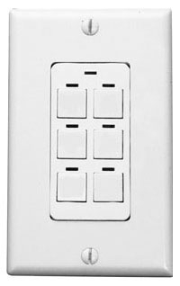 Lighting Control & Design CH6 BWH PWH 6-Button White Button and Plate Digital Switch