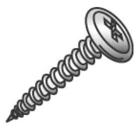 Minerallac 14809J #8 x 1/2 Inch Zinc Plated Steel Phillips Drive Sharp Point Wafer Head Piercing Stud Screw