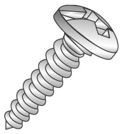 Minerallac 18833J #8 x 2 Inch Zinc Plated Steel Combination Slotted/Phillips Drive Pan Head Sheet Metal Screw