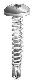 Minerallac 27008-6 #10 x 1/2 Inch Zinc Plated Steel Square Drive Pan Head Tek Self Drilling Screw
