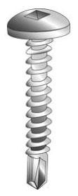 Minerallac 27012-6 #10 x 3/4 Inch Zinc Plated Steel Square Drive Pan Head Tek Self Drilling Screw