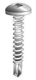 Minerallac 27016-6 #10 x 1 Inch Zinc Plated Steel Square Drive Pan Head Tek Self Drilling Screw
