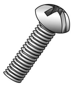 Minerallac 52216J #6-32 x 1 Inch Zinc Plated Steel Combination Slotted/Phillips Drive Round Head Machine Screw