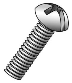 Minerallac 52248J #6-32 x 3 Inch Zinc Plated Steel Combination Slotted/Phillips Drive Round Head Machine Screw