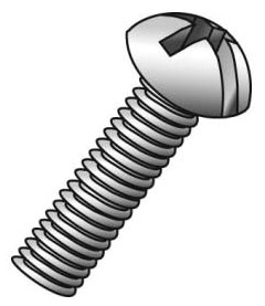 Minerallac 52424J #8-32 x 1-1/2 Inch Zinc Plated Steel Combination Slotted/Phillips Drive Round Head Machine Screw