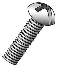 Minerallac 52432J #8-32 x 2 Inch Zinc Plated Steel Combination Slotted/Phillips Drive Round Head Machine Screw