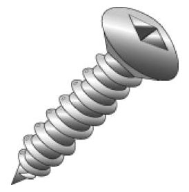 Minerallac 76048 #10 x 3 Inch 18-8 Stainless Steel Square Drive Oval Head Sheet Metal Screw