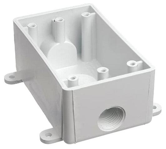 Carlon E381DW-CAR 1/2 Inch White Weatherproof Rectangular T-Box