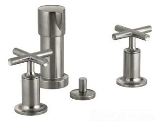 Kohler K-14431-3-BN; Purist (R) bidet faucet with vertical spray and cross handles; in Vibrant Brushed Nickel