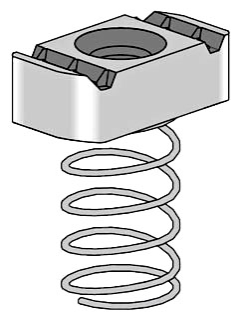 Power-Strut PS RS 5/16 EG 5/16 Inch Electrogalvanized Channel Clamping Nut with Regular Spring