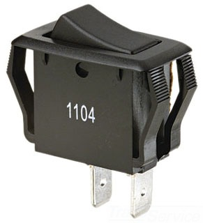 Ideal 774038 8/16 Amp 125/250 VAC SPST On-Off Spade Terminal Black Rocker Switch