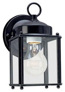 Sea Gull 8592-12 1-Lamp 8/13.5/100 W 120 Volt Black Medium A19 Wall Mount Light Fixture