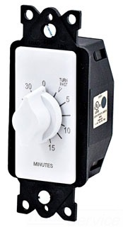 Tork A530MW 125/277 VAC 60 Hz 20 Amp 30 Minute White SPST Springwound Auto Off In-Wall Electromechanical Time Switch