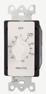 Tork A560MW 125/277 VAC 60 Hz 20 Amp 60 Minute White SPST Springwound Auto Off In-Wall Electromechanical Time Switch
