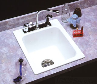 "11 MUSTEE WHITE SELF RIM COUNTERTOP SINK 20X17X10 SIZE 3-1/2"" DRAIN OPENING"