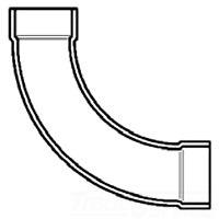 "4807LT-40 SPEARS 4"" PVC DWV LONG (90) SWEEP 1/4 BEND HUB X HUB (P304-040)"