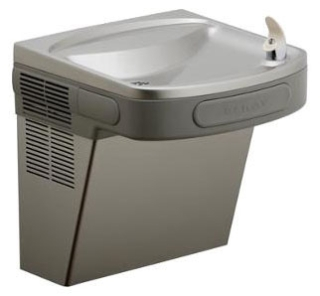 EZS8L ELKAY 8GPH BARRIER FREE WATER COOLER WITH FRONT & SIDE PUSHBARS LIGHT GRAY GRANITE