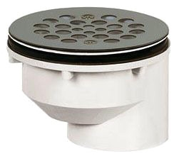 "825-2PFS SIOUX CHIEF OFFSET PVC 2"" OFFSET SHOWER DRAIN WITH SCREW ON 18 GA STAINLESS STEEL STRAINER"