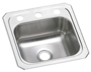 BCR15-2 ELKAY 15 X 15 20 GAUGE SS 2 HOLE CELEBRITY BAR SINK
