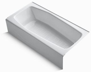 K716-0 KOHLER WHITE VILLAGER 5FT CI BATH TUB OUTLET ON RIGHT