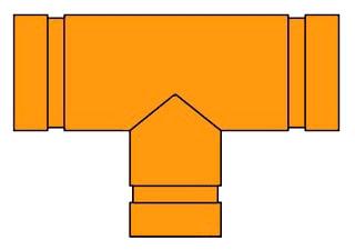 7061 6X6X2-1/2 PTD GRUVLOK TEE