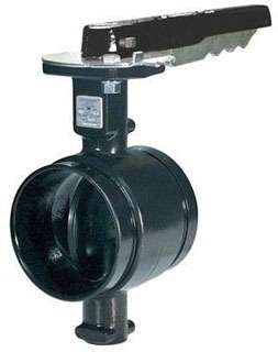 "AN-7721-3 5"" GRUVLOK GROOVED BUTTERFLY VALVE WITH NYLON COATED BODY AND EPDM COATED DISC WITH 10 POSITION L/L HANDLE"