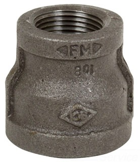 "1/2"" X 3/8"" Reducing Coupling - Black Malleable Iron"