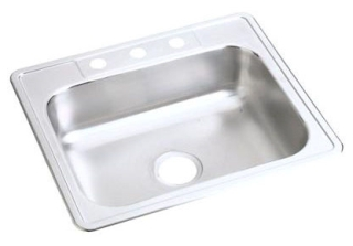 D12522-3 DAYTON 25 X 22 SINGLE BOWL STAINLESS STEEL 3 HOLE SINK