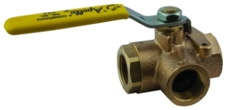 "70-603-01 1/2"" APOLLO BRONZE IP 3-WAY BALL VALVE 400 WOG STD PORT Not approved for Potable Water 2014 MODEL #: 7060301"
