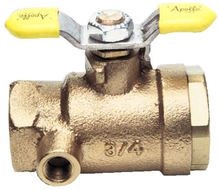 """7B-108-A4 2"""" APOLLO BRZ BALL VALVE WITH 1/4"""" SIDE/CENTER DRAIN LEVER HANDLE MODEL #: 7B108A4"""