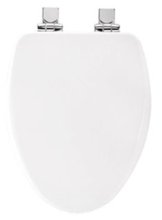 18170CHSL-000 EB CHURCH ELONGATED HIGH DENSITY MOLDED WOOD SEAT, WHISPER CLOSE, WHITE WITH CHROME HINGES