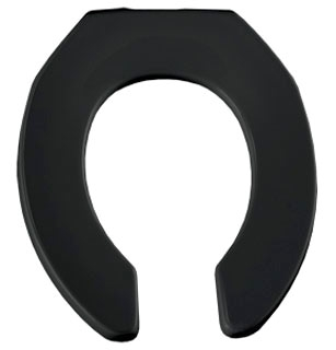 397CT-047 OPEN FRONT LESS COVER CHECK HINGE BLACK ROUND TOILET SEAT
