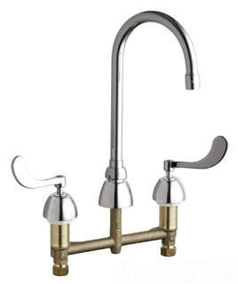 "786-E3ABCP CHICAGO DECK MOUNTED 8"" CC KITCHEN FAUCET W/ RIGID SWING GOOSENECK SPOUT,WRIST BLADE HANDLES"